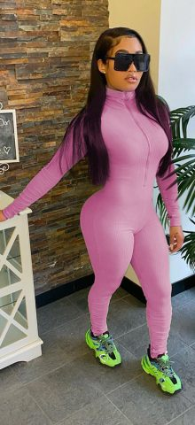 Hualong High Neck Zipper Front Pink Long Sleeve Jumpsuit