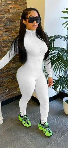 Hualong High Neck Zipper Front White Long Sleeve Jumpsuit