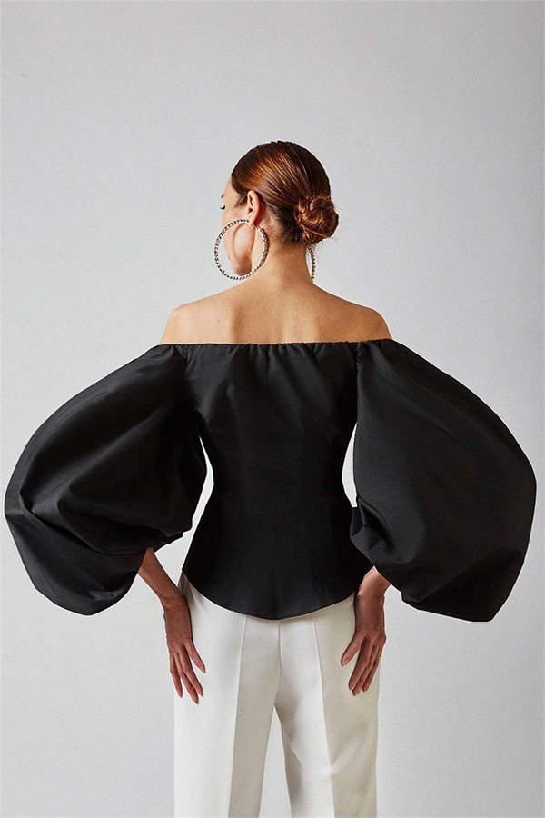 Hualong Sexy Button Front Off The Shoulder Black Bell Sleeve Top