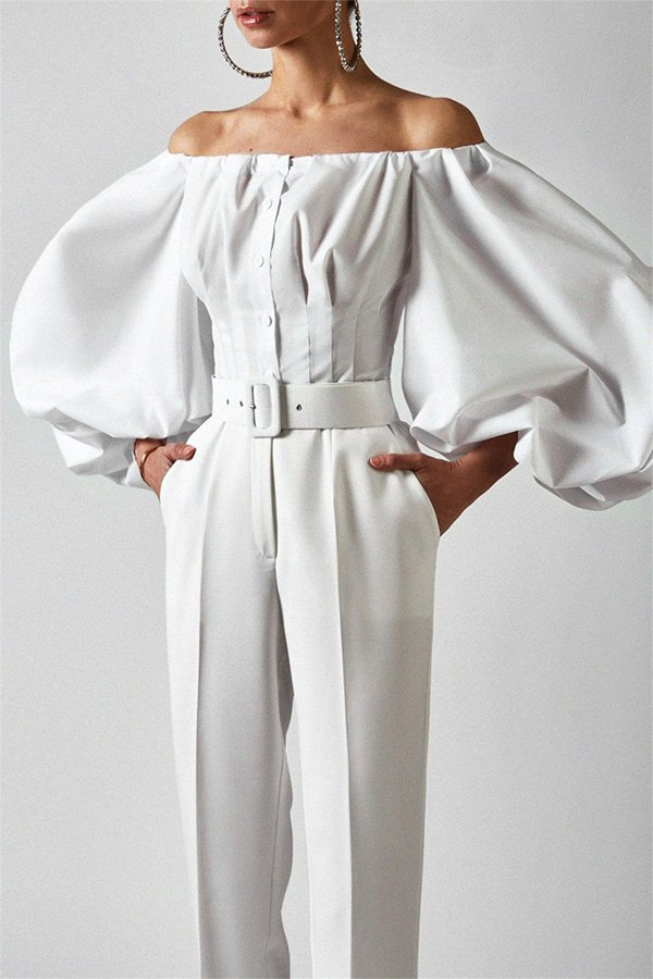 Hualong Sexy Button Front Off The Shoulder White Bell Sleeve Top