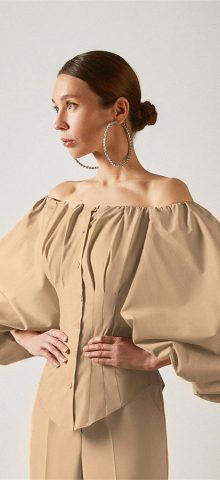 Hualong Sexy Khaki Button Front Off The Shoulder Bell Sleeve Top