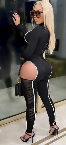Hualong Sexy Long Sleeve Zipper Back Black Cut Out Jumpsuit
