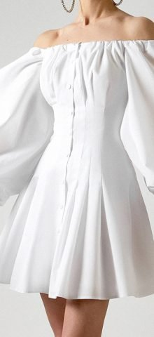 Hualong White Button Down Off the Shoulder Bell Sleeve Dress