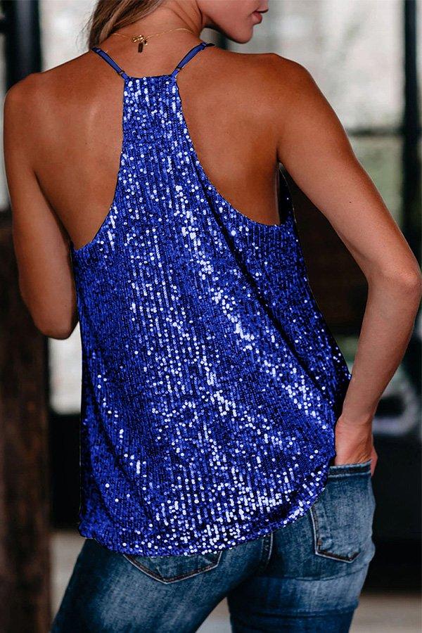 Hualong Women Sexy V Neck Sleeveless Sequin Blue Top